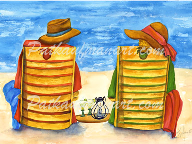 cottages and beach living paintings Best Friends