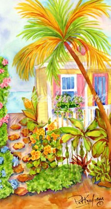 cottages and beach living paintings Bougainvillea Lane III