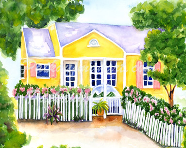 cottages and beach living paintings Cece Cottage