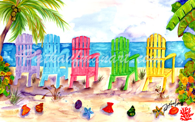 cottages and beach living paintings Chair Chair Chair