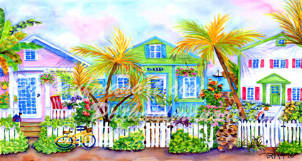 cottages and beach living paintings Cottage Row by the Sea