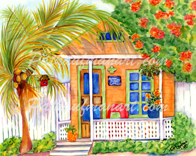 Beach Cottages And Beach Art Paintings By Tropical Paintings Artist Pat Kaufman In Delray Beach