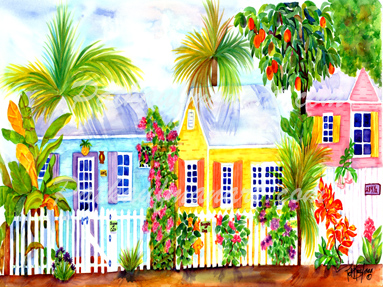 cottages and beach living paintings Cottage on the Alley by the Sea