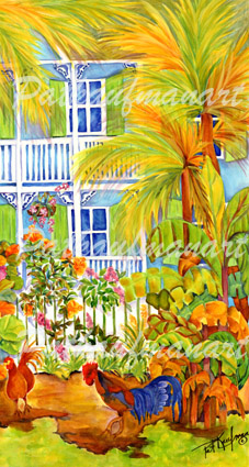 cottages and beach living paintings Cottage with Chickens