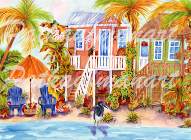 cottages and beach living paintings Island Cottages I