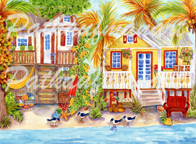 cottages and beach living paintings Island Cottages II