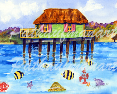 cottages and beach living paintings Island Home