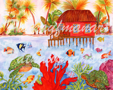 cottages and beach living paintings Island of Dreams