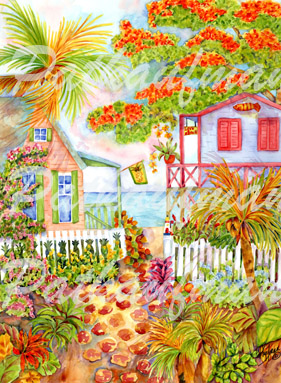 seaside cottages and beach living paintings watercolors by tropical