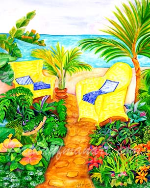 cottages and beach living paintings Two Yellow Chairs by the Sea