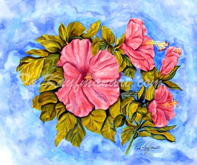 tropical gardens and flora paintings Blossoms III