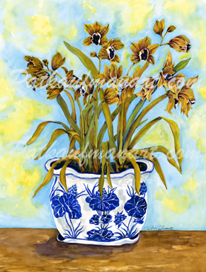 tropical gardens and flora paintings Blue and White Dancing Orchids