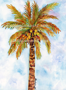 tropical gardens and flora paintings Coconut Palm in October