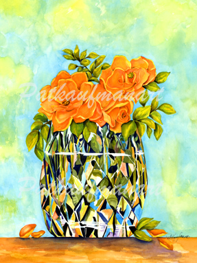 tropical gardens and flora paintings Crystal and Roses