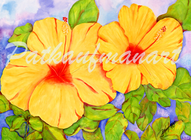 tropical gardens and flora paintings Golden Lite