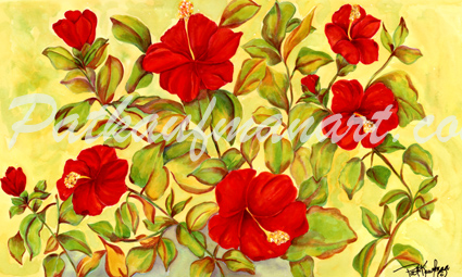 tropical gardens and flora paintings Hibiscus Dance