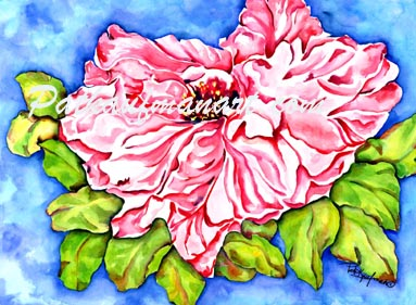 tropical gardens and flora paintings Hibiscus I