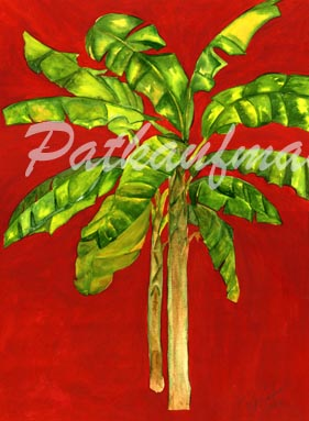 tropical gardens and flora paintings II Banana