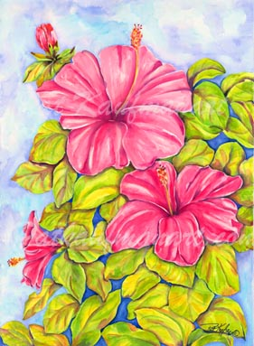 tropical gardens and flora paintings Pink Petal Hibiscus II