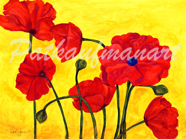 tropical gardens and flora paintings Poppy I