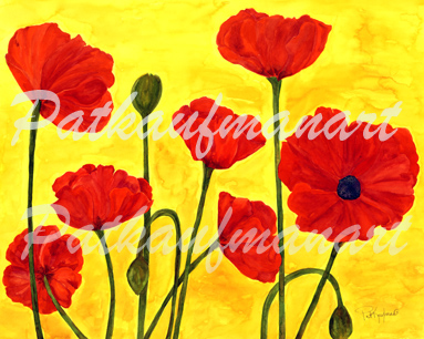 tropical gardens and flora paintings Poppy II