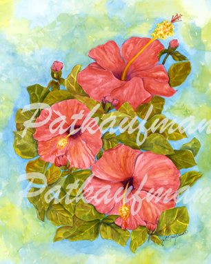 tropical gardens and flora paintings Pretty In Pink